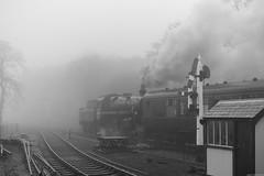Departing  [Explored 11/04/2019] (aljones27) Tags: nnr northnorfolkrailway holt mist misty fog foggy weather bw monochrome blackandwhite steam engine train heritage standard4 76084