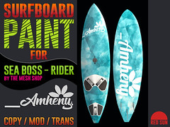 AMHENY - Surfboard Blue Paint for SeaBoss - Rider (cuuka) Tags: sl second life secondlife red sun blue pink board surf surfboard sea boss rider mesh shop design graphic logo custom paint painting cuuka kushino abstract market sell