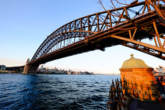 Late afternoon from Dawes Point (Rob Harris Photography) Tags: australia iconic newsouthwales sydney sydneyharbourbridge harbourbridge harbour outdoors tourism travel travelphotography landscape landscapephotography cityscape city bridge steel arch througharch portjackson coathanger thecoathanger dramatic magnificent structure engineering construction sunset transport transportation