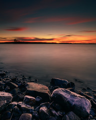 The last glow (Rico the noob) Tags: dof rock d850 landscape 20mm water outdoor lake stones clouds longexposure trees horizon tree travel forest published rocks sky nature 2018 20mmf18 finland ice