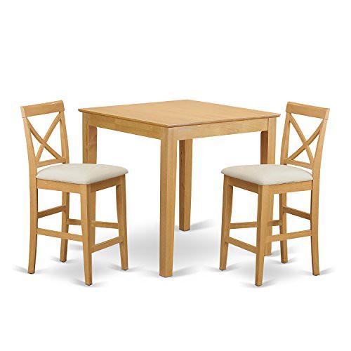 Cheap East West Furniture PUBS3-OAK-C 3-Piece Gathering Table Set, Oak Finish