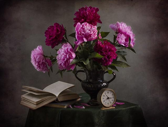 Обои стол, книги, букет, натюрморт, винтаж, скатерть, пионы, чтение, букет пионов, светлана андреянова, аромат пионов картинки на рабочий стол, раздел цветы - скачать