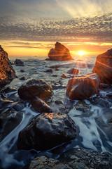 Burning Muir I (sberkley123) Tags: z7 nikon marin surf waves california seastack ocean usa longexposure millvalley muirbeach sunset colors seascape sanfrancisco coast 1424mm pacific