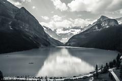 Monochrome Lake Louise (Samantha Decker) Tags: ab alberta banffnationalpark canada canadianrockies canonef24105mmf4lisusm canoneos6d lakelouise parkscanada rockymountains samanthadecker monochrome
