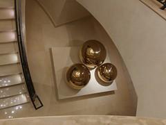 Brillant Gold! (jlynfriend) Tags: phonephoto lg stairwell stairs entrance gold ball art decorative decorations hotel three threesame smile saturday smileonsaturday