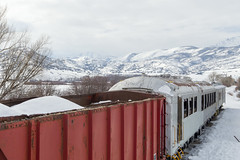 Abandoned Rail Cars Near Soldier Hollow (aaronrhawkins) Tags: rail car railroad coach abandoned track snow covered lonely contrast winter cold weather soldierhollow hebervalley hebercity utah hills mountains aaronhawkins