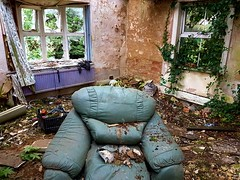 (1st floor) Mother nature hard at work. Messy mind, messy home. (Roxy Boyce) Tags: derelict oldchair floorboards brokenwindows trees neglected vandalism abandoned dysfunctional redbrick