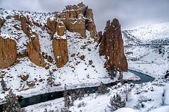 Winter Scene at Smith Rock (TierraCosmos) Tags: smithrock crookedriver river rocks winter snow oregon centraloregon terrebonne
