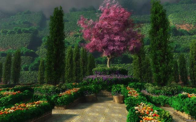 Обои пейзаж, сад, цветы, деревья картинки на рабочий стол, фото скачать бесплатно