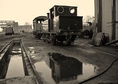 Southern Railway 'Terrier' Locomotive No.662 'Martello' stabled at Wansford. Nene Valley Railway. 10 03 2019 (pnb511) Tags: nenevalleyrailway heritage trains steam preserved wansford loco locomotive workshop power 662 martello tank engine sr southern railway terrier reflection puddle water lake