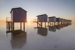 Osea Beach Huts (Nathan J Hammonds) Tags: beach huts essex uk sunset long exposure minimal nikon irex nisi osea coast sea water fineart colour sun hdr