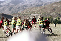 71-894 (ndpa / s. lundeen, archivist) Tags: nick dewolf nickdewolf color photographbynickdewolf 1975 1970s film 35mm 71 reel71 summer fall aspen colorado september ruggerfest aspenruggerfest 8thannual eighthannual rugby tournament women womensrugby woman youngwoman youngwomen player players jersey jerseys uniform uniforms girl girls game playing field rugbyfield mountain mountains rockymountains rockies valley roaringforkvalley ball