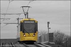 Manchester Metrolink 3096 (Mike McNiven) Tags: manchester metrolink tram metro lightrail lrv manchesterairport wythenshawe baguley victoria marketstreet newyear happynewyear newyearseve lastphotoof2018 last photo 2018 coloursplash yellow orange colour pop splash creative adobe photoshop
