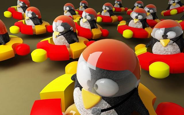 Обои ubuntu, логотип, пингвины, бренд, hi-tech картинки на рабочий стол, фото скачать бесплатно