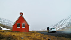 Iceland (Josh Khaw) Tags: iceland road snow house car drive red cottage