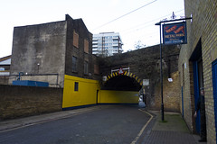 Chaseley Street, Limehouse (London Less Travelled) Tags: uk unitedkingdom britain england london city urban suburb suburbia eastlondon towerhamlets limehouse street bridge abandoned building railway arch
