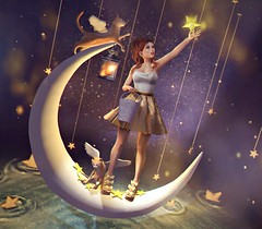 #291 Stargazer (NuriaNiven) Tags: laq shiny stuffs euphoric unicult andore ersch maitreya taox avada wasabi breathe le poppycock half deer bonbon stars stargazer second life sl lotd lookbook blogger avatar moon cats night bento