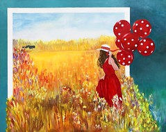 """Coming Home"" Prints and more are available: https://fineartamerica.com/profiles/edith-dooley.html (Edie54) Tags: meadow grassland prairie wildflowers daisy flowers balloons balloon girl pretty young lady walk dress red house home coming traipse jaunt happy hat polka dot frame run plains field lass female lassie anticipate long hair brown sunny summer spring blue sky distant distance lovely clearing"