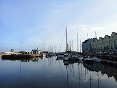 Galway Docks (mcginley2012) Tags: galway docks galwaydocks boat blueskies cameraphone huaweip20pro ireland reflection