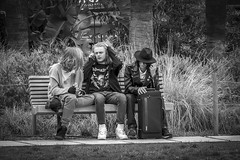 Three on a bench in Nice, France15/4 2018. (photoola) Tags: nice promenadedupaillon bänk sv monochrome blackandwhite photoola bench street