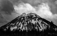 Black Butte and Winter Clouds (shastamax) Tags: monochrome blackandwhite snow clouds siskiyoucounty california landscape winter cindercone blackbutte