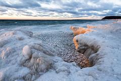 Sunset on the Ice Shelf  [Explore] (GLASman1) Tags: empire iceshelf lakemichigan southmanitouisland sunset sleepingbeardunes cold windy beautiful