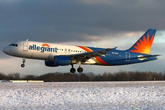 N219NV allegiant A320-214 at KCLE (GeorgeM757) Tags: n219nv a320214 allegiant aircraft aviation airplane airport airbus georgem757 kcle clevelandhopkins canon70d snow 6l landing