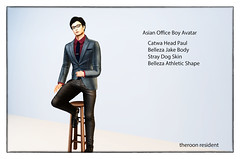 Asian Boy formal Wear (theRoon Resident) Tags: catwa head paul belleza jake body stray dog avatar skinasian office boy formal suit 3d model realistic nik collection effect photoshopbest top dura hair sexyboy seduceboy handsome modern