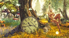Curious Time (Angel Neske) Tags: angel clock swing landscape magic fantasy