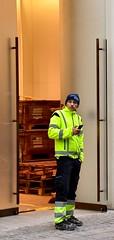 Man At Work - Strøget Copenhagen (FaceMePLS) Tags: kopenhagen copenhagen denemarken denmark scandinavië facemepls nikond5500 straatfotografie streetphotography smartphone cellphone handy telefoon veiligheidsvest manatwork