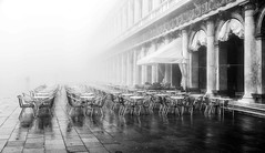Venice in the Fog - Number 2 (photofitzp) Tags: bw blackandwhite fog italy mist stmarkssquare venice