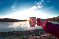 Sunshine (Bryantes_ER) Tags: mug sun sunset sunshine devin river water hand sky