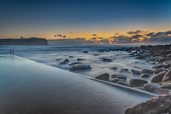 Dawn Seascape by the Seapool (Merrillie) Tags: daybreak sunrise nature water seapool centralcoast morning sea newsouthwales rocks earlymorning nsw dawn clouds ocean landscape macmasters waterscape coastal macmastersbeach outdoors seascape australia coast sky waves