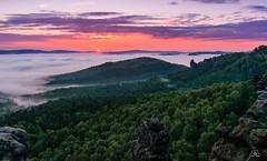 Sunrise at Gohrisch, Saxon Switzerland (Uwe Kögler) Tags: saxony sachsen sächsischeschweiz saxonswitzerland germany gohrisch nebel nebelstimmung elbsandsteingebirge elbe morning morgen sunrise sonnenaufgang wolken felsen fog