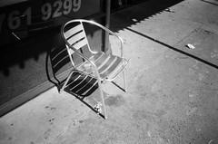 Metallic chair (Matthew Paul Argall) Tags: hanimex35es fixedfocus focusfree 35mmfilm blackandwhite blackandwhitefilm kentmerepan100 100isofilm chair