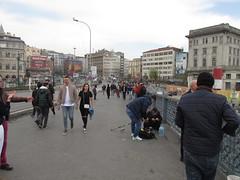 Galata Bridge (lazy south's travels) Tags: istanbul turkey turkish road street scene candid man woman fisherman tourist karakoy