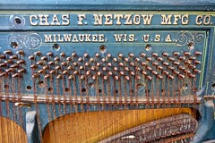 The Junked Piano (ricko) Tags: piano old junk chasfnetzowmfgco milwaukee wis usa rust tuningstrings