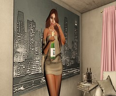 Care for some Champagne? (parisevermore) Tags: designershowcase jessposes arcanespellcaster moondance navycopper nails fashion meshfashion virtualfashion poses hair events props