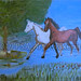 """""""Two Horses in a Meadow"""" by Taleeah, acrylic, $30.00"""