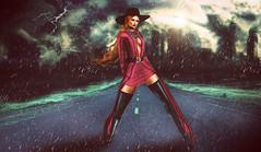Born To Be Wild (charlotepetrova) Tags: firestorm rain thunder secondlife art storm girl ginger taox