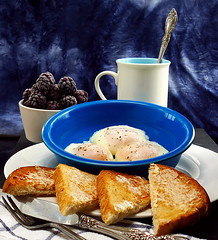 The Breakfast of Photographers (Eat With Your Eyez) Tags: poach poached egg eggs breakfast berries berry blackberry bread toast butter pepper salt fiesta bowl blue mug napkin silverware slate natural morning light meal cook eat dining foodstyling foodphotography food plating styling homemade relaxing weekend saturday panasonic fz1000
