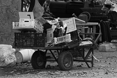 A Cluttered Cart (ACEZandEIGHTZ) Tags: nikon d3200 blackandwhite bw cart wheeled messy cluttered boxes monochrome
