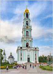 Belfry (88m) in Sergiyev Posad Lavra (Russia) (KonstEv) Tags: belfry church orthodox architecture tiltshift cathedral tower lavra building sky horologium bell monastery колокольня церковь religion