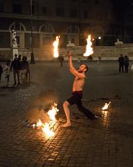 Rome Street Performer (dckellyphoto) Tags: italy italia rome roma 2019 lazio europe performer fire man male night dark flames
