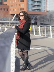 Laura, Rotterdam 2019: On the bridge (mdiepraam) Tags: laura rotterdam 2019 portrait pretty attractive beautiful elegant classy gorgeous dutch brunette girl woman lady naturalglamour curls coat scarf boots stockings tights nylons rijnhavenbrug bridge