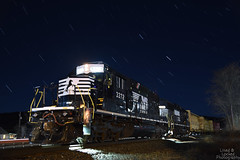 Breakfast and star trails. (DirtyDeeble67) Tags: norfolksouthern ns nscorp emd sd402 emdsd402 gp59 emdgp59 star stargazing startrails nikon nikond750 d750 outdoors railroad railroadlife freight freighttrain bowmanstown pennsylvania pa led stars travel explore discover adventure lehighline h66