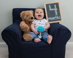 4 months (zachary.locks) Tags: 4 bear chair child cute four gabe infant monthly months old photos sitting smile smiling son teddy zlocks