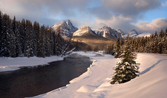 Winters Break (LandscapeExposure.com) Tags: canadianrockies landscape landscapeexposurecom winter sunrise snow mountains river trees