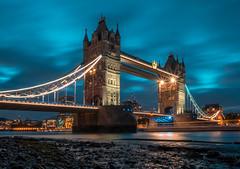 London Tower Bridge Sunset (luaP_Paul) Tags: london tower bridge sunset thames river water sea tide blue lights orange long exposure road fuji fujifilm xt20
