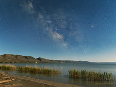 Milky Way Early Night over Bear Lake (Constantine L.) Tags: milky way night sky stars galaxy blue lake bear idaho mountains landscape astrophoto astrophotography canon 6d nightscape beach grass glow constellations astroscape starscape reflection water long exposure 24mm